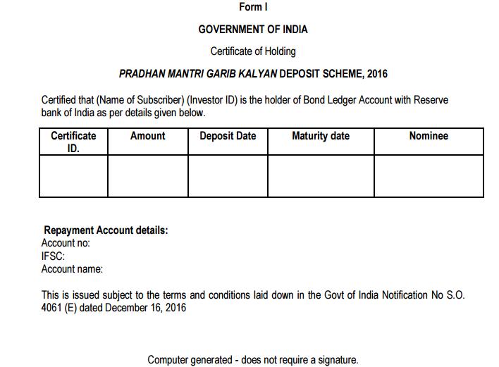 Pradhan Mantri Garib Kalyan Deposit Scheme - Certificate of Holding
