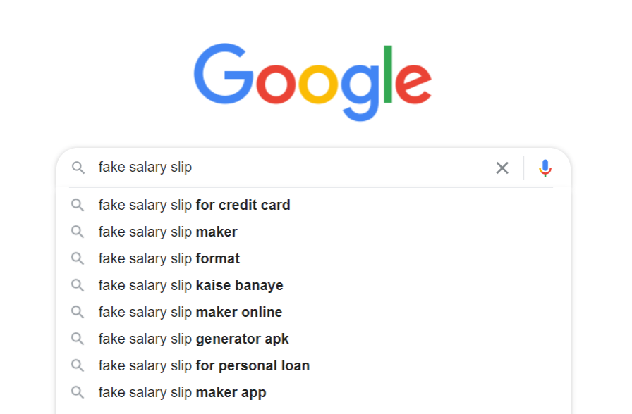 Fake Salary Slip - Related Searches